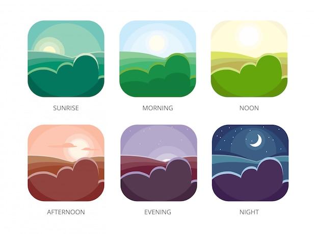 Visualizzazione di varie ore, mattina, mezzogiorno e notte, alba in stile piatto e pomeriggio, paesaggio serale