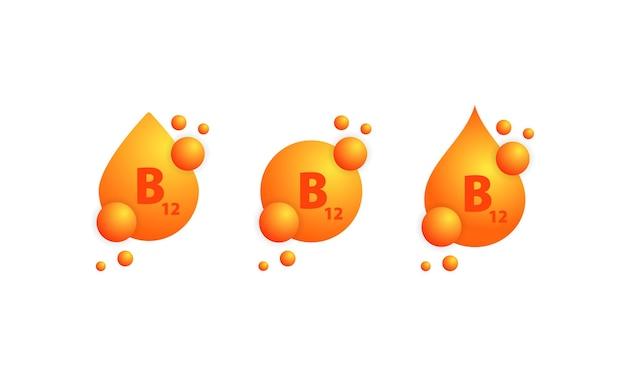 Insieme dell'icona di vitamina b. progettazione di cura della pelle di nutrizione di trattamento di bellezza. essenza sana del supplemento della pillola della medicina vettore su sfondo bianco isolato. env 10.