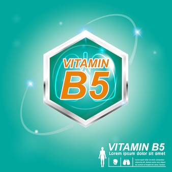 Concetto di etichetta logo nutrizione vitamina b