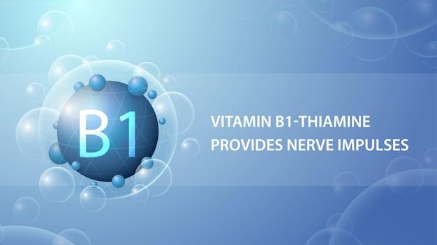 Vitamina b1, poster informativo blu con capsula di medicina astratta