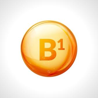 Vitamina b1 isolata su bianco. simbolo di salute della medicina della tiamina. vitamina b1 chimica naturale.
