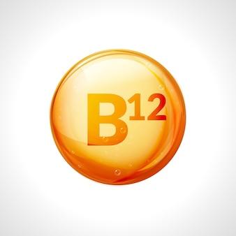 Pillola d'oro di vitamina b12. complesso vitaminico con gruppo b, cianocobalamina, farmaco idrossicobalamina.