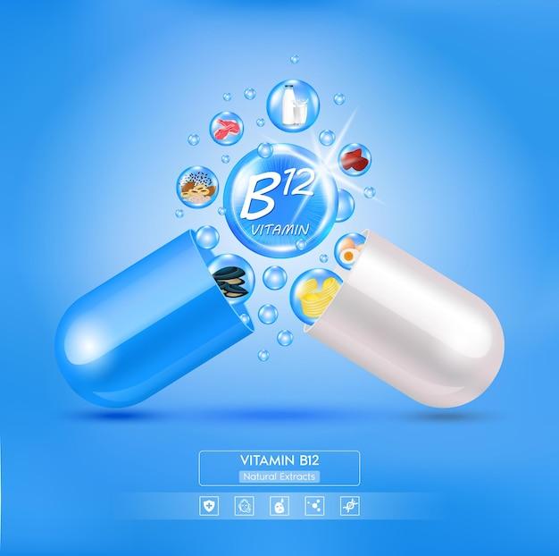 Icona della vitamina b12 blu brillante complesso vitaminico con formula chimica