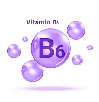 Bolla medica della medicina della vitamina b6 sull'illustrazione bianca del fondo. assistenza sanitaria e concetto medico.