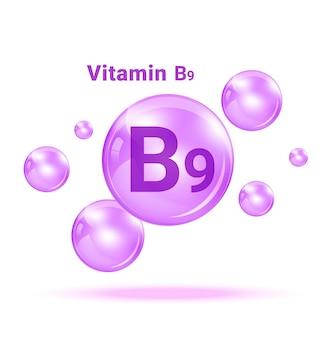 Bolla di vitamina b9. Vettore Premium