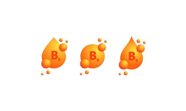 Insieme dell'icona di vitamina b9. progettazione di cura della pelle di nutrizione di trattamento di bellezza. essenza sana del supplemento della pillola della medicina vettore su sfondo bianco isolato. env 10.