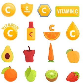 Icona di vitamina c. fumetto dell'icona della vitamina c isolata