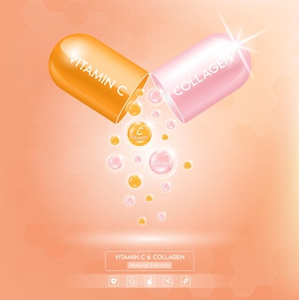 Confezione di vitamina c arancione e collagene rosa con siero in soluzione in capsule