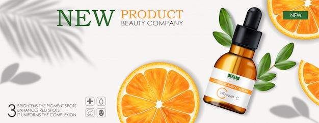 Siero di vitamina c, azienda di bellezza, flacone per la cura della pelle, confezione realistica e agrumi freschi, essenza di trattamento, cosmetici di bellezza, banner