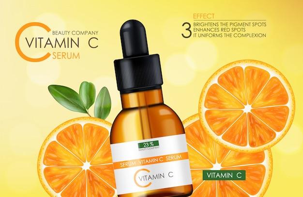 Siero di vitamina c, azienda di bellezza, flacone per la cura della pelle, confezione realistica e agrumi freschi, essenza di trattamento, cosmetici di bellezza