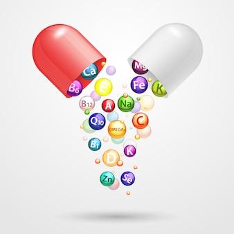 Illustrazione realistica di vettore della capsula farmaceutica complessa della vitamina