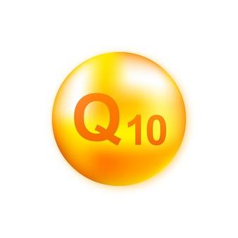 Complesso vitaminico q10 con goccia realistica. particelle di vitamine nel mezzo. illustrazione.