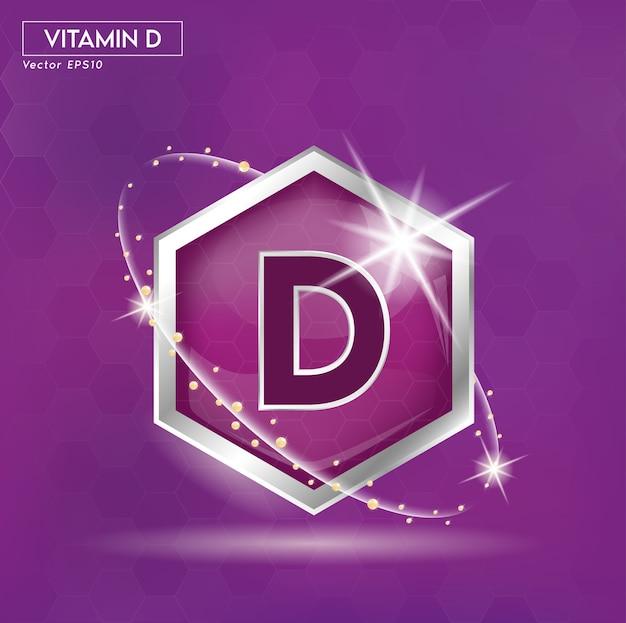 Etichetta del concetto di vitamina d in lettere viola in argento.