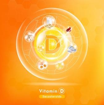 Capsula di vitamina d medicina sostanza arancione concetto di miglioramento della bellezza anti invecchiamento e assistenza sanitaria