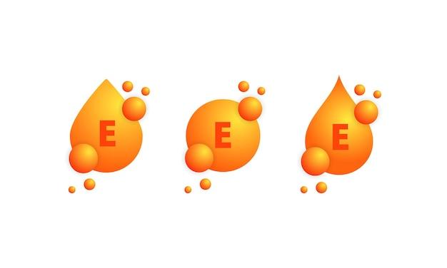 Insieme dell'icona di vitamina e. splendente goccia dorata di sostanza. progettazione di cura della pelle di nutrizione di trattamento di bellezza. complesso vitaminico con formula chimica, gruppo b, tiamina. vettore su sfondo bianco isolato.