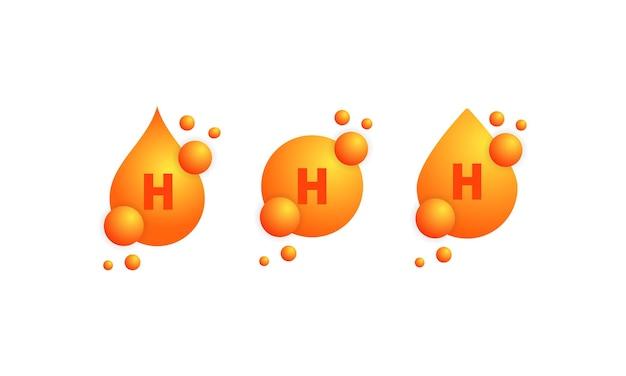 Insieme dell'icona di vitamina h. progettazione di cura della pelle di nutrizione di trattamento di bellezza. essenza sana del supplemento della pillola della medicina vettore su sfondo bianco isolato. env 10.