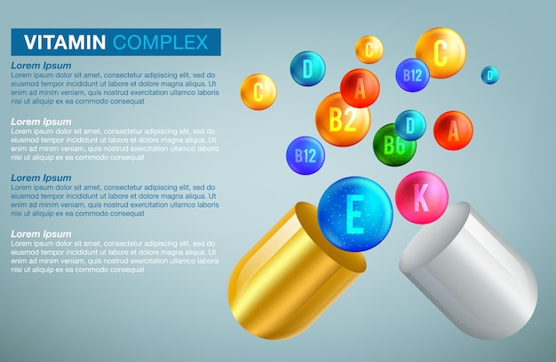 Banner 3d complesso di vitamine e minerali