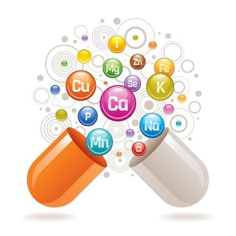 Complesso di integratori vitaminici minerali.