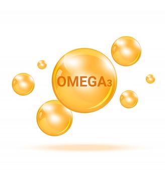 Bolla medica della medicina del omega3 della vitamina sull'illustrazione bianca del fondo. assistenza sanitaria e concetto medico.