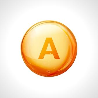 Pillola di vitamina a. trattamento nutritivo vitaminico al retinolo. medicina sanitaria. simbolo di supplemento naturale.