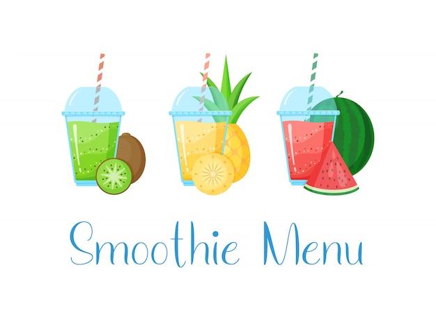 Illustrazione stabilita di estate del cocktail del frullato della vitamina