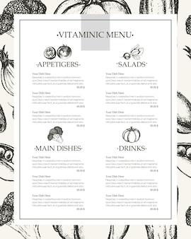 Menu vitaminico - modello di menu composito disegnato a mano di vettore in bianco e nero con copyspace. broccoli realistici, zucca, ravanello, cipolla, pomodoro, melanzana, peperone, cetriolo, carota, pisello.