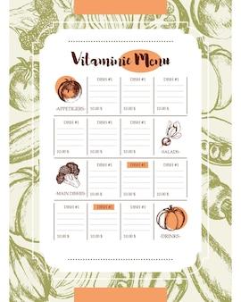 Menu vitaminico - menu composito disegnato a mano di vettore di due colori con copyspace. broccoli realistici, zucca, ravanello, cipolla, pomodoro, melanzana, peperone, cetriolo, carota, pisello.