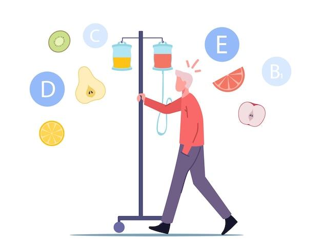 Gocciolamento di vitamine, concetto di terapia iv Vettore Premium