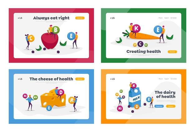 Vitamine in prodotti landing page template set