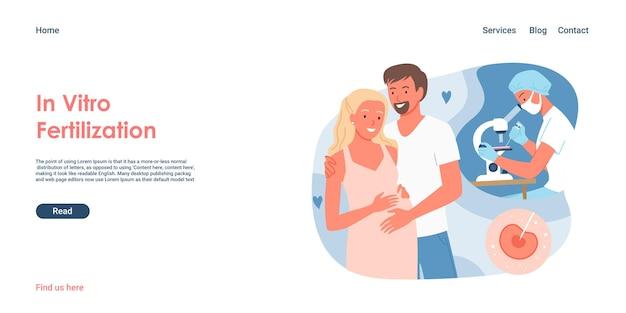 Illustrazione di vettore di concetto di fecondazione in vitro. coppia di cartoni animati che stanno insieme, donna incinta con uomo e medicina clinica moderna e salute della fertilità, pagina di destinazione dei test genetici