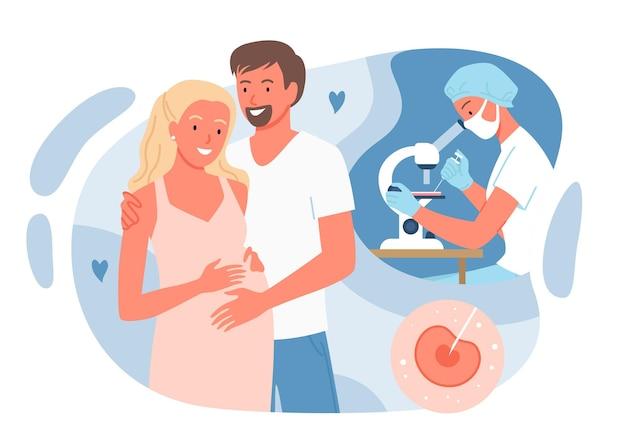 Concetto di fecondazione in vitro con illustrazione vettoriale di genitori persone. cartoon donna incinta moglie in piedi insieme al marito uomo, felice gravidanza e medicina riproduttiva isolato su bianco