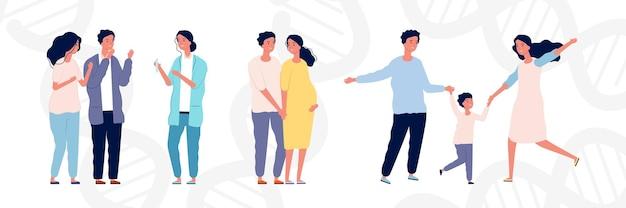 Concetto di fecondazione in vitro. giovani coppie e medico. maternità e genitorialità, donna incinta felice con l'uomo. cartoon illustrazione piatta