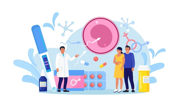Fecondazione in vitro con i genitori, moglie in piedi insieme al marito. inseminazione artificiale. riproduzione e salute riproduttiva. diagnosi e trattamento dell'infertilità. monitoraggio della gravidanza