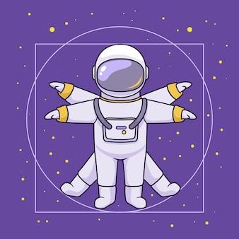 Illustrazione vitruviana, concetto di spazio astronauta