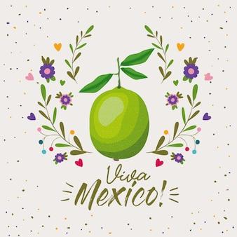 Manifesto variopinto di viva mexico con frutta limone