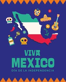 Viva il messico dia de la indipendenza con il design della mappa, illustrazione di vettore del tema della cultura