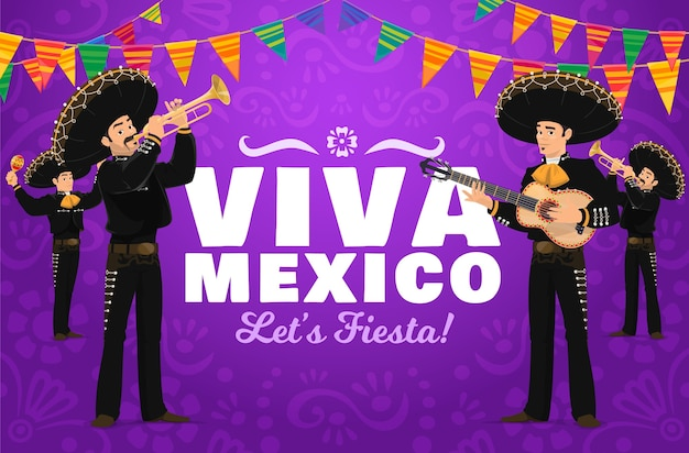 Viva mexico fiesta con personaggi dei cartoni animati mariachi.