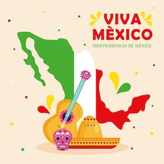 Viva mexico, felice giorno dell'indipendenza, 16 settembre con decorazioni di icone tradizionali e mappa.
