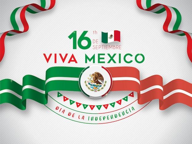 Viva il giorno dell'indipendenza del messico 16 settembre con bandiera