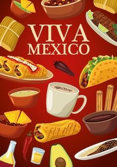 Viva mexico lettering e cibo messicano con menu a sfondo rosso.