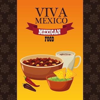 Viva mexico lettering e cibo messicano con fagioli fritti e nachos.