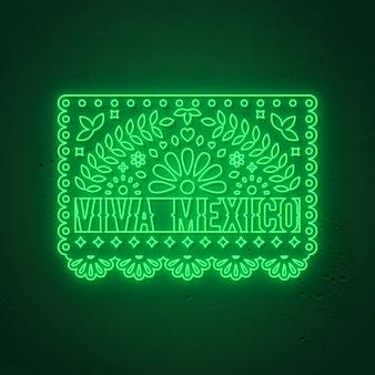 Insegna al neon di viva mexico. dia de los muertos - day of the dead, stile neon messicano