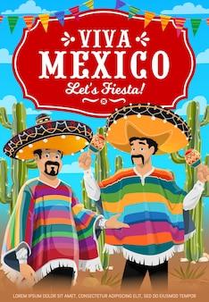 Manifesto di viva mexico con banda musicale di musicisti messicani.