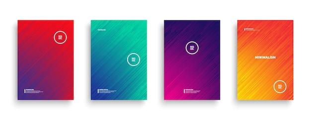 Modelli di brochure in stile minimalista con linee di flusso dinamico colori vivaci su bianco