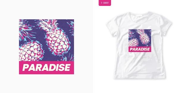 T-shirt da donna con grafica vivida con ananas