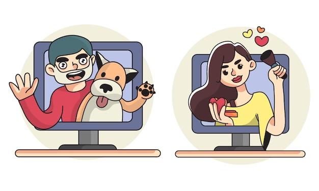 Vlog illustrazione uomo con cane da compagnia e canale di bellezza Vettore Premium