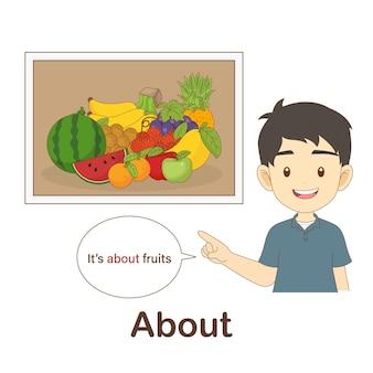 Flash card di vocabolario per bambini. circa con foto su