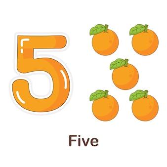 Flash card di vocabolario per bambini. cinque a con l'immagine cinque a