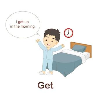 Flash card di vocabolario per bambini. vai con la foto vai a