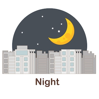 Flash card di vocabolario per bambini. notte con foto notte